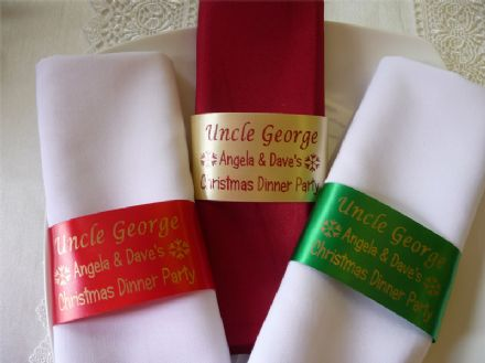Napkin Ring Personalised Ribbon / Place Setting Name for Christmas or Dinner Party